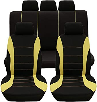 Full Set 5,Removable and washable,Yellow HotYou Universal Seat Cover Front /& Rear