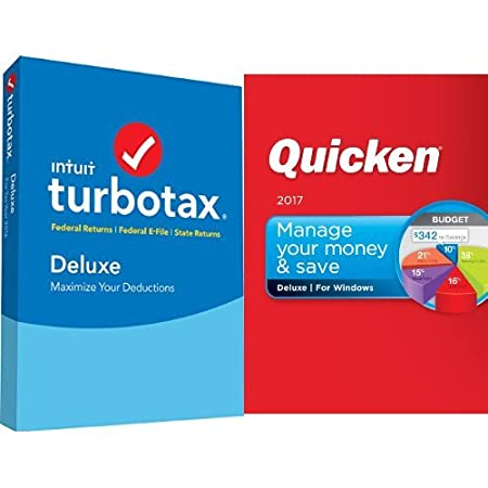 TurboTax Deluxe 2016 Tax Software Federal & State + Fed Efile PC/MAC Disc [Amazon Exclusive] with Quicken Deluxe 2017 Download