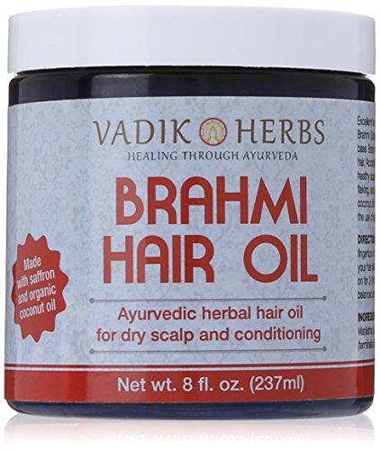 Brahmi Hair Oil (8 oz) by Vadik Herbs | All natural herbal hair oil for hair growth, hair conditioning, dandruff and dry scalp | Herbal scalp treatment by Vadik Herbs (Image #7)