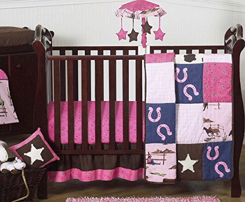 (Western Horse Cowgirl Pink and Brown Baby Girl Bedding 11pc Crib Set Without Bumper)