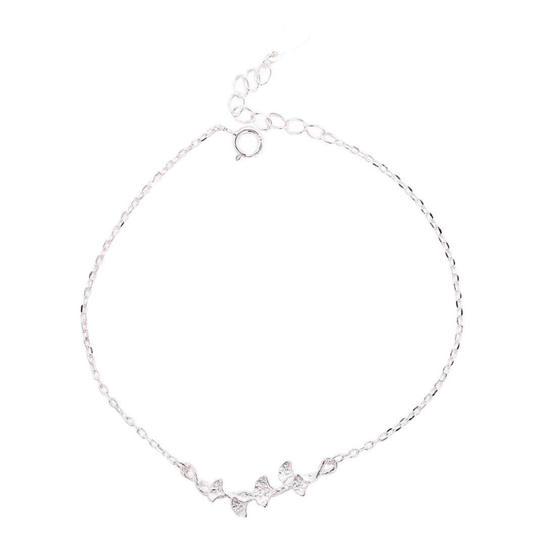 YIYIYYA女性用ブレスレットS925シルバーパーソナリティデザインファッショナブルなイチョウ葉の形の結婚式の宝石類女性用ジュエリーの贈り物   B07LGZVMXD