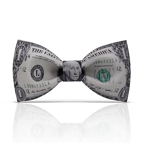 Lanzonia Funny Dollar Bow Ties for Men, Designer Money Bowtie for Wedding Prom Party Graduations