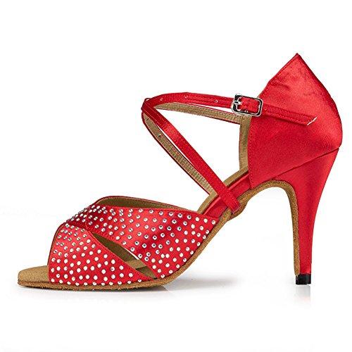Heels Diamante Bottom High Social Soft Dancing Dance Tango GUOSHIJITUAN Satin Shoes Shoes Dancing Latin Red Women's Salsa Shoes Pwx4A