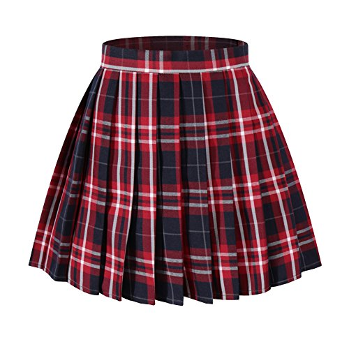 Women`s High Waist Short plaid Pleated halloween costumes Skirts(L,Blue Wine White) -