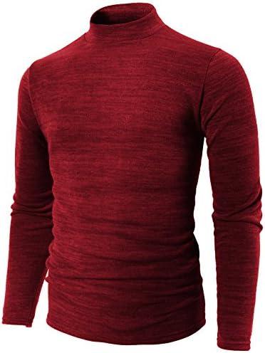 【H2H】 メンズ カジュアル ファッション シンプル 無地 タートルネック ロングスリーブ あったか 柔らかい ニット カットソー ロンT KMTTL028