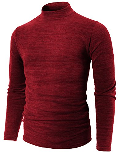 - H2H Mens Slim Fit Soft Cotton Pullover Light Turtleneck RED US L/Asia 3XL (KMTTL0412)