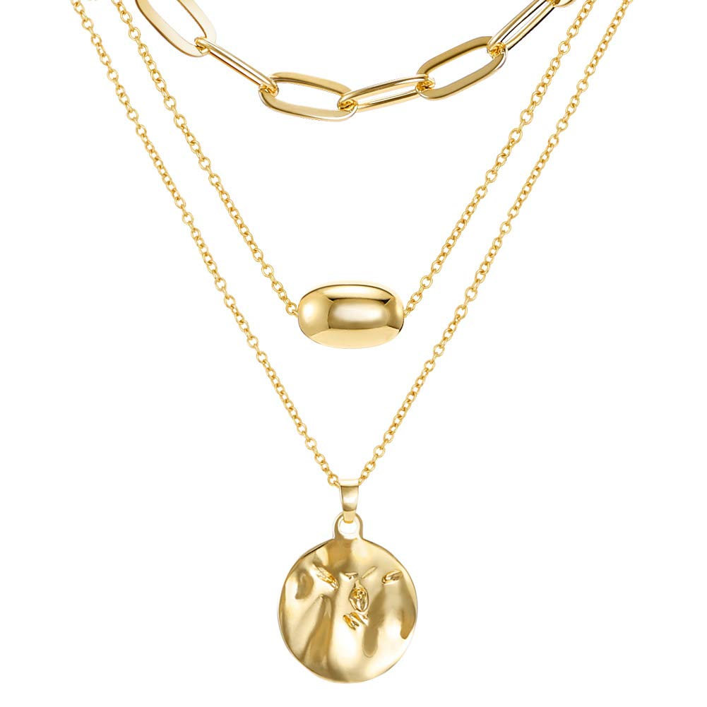 LILIE&WHITE 14K Gold Layered Coin Pendant Adjustable Chain Necklaces Pendant Link Chain Chokers Necklaces Jewelry for Women and Girls by LILIE&WHITE