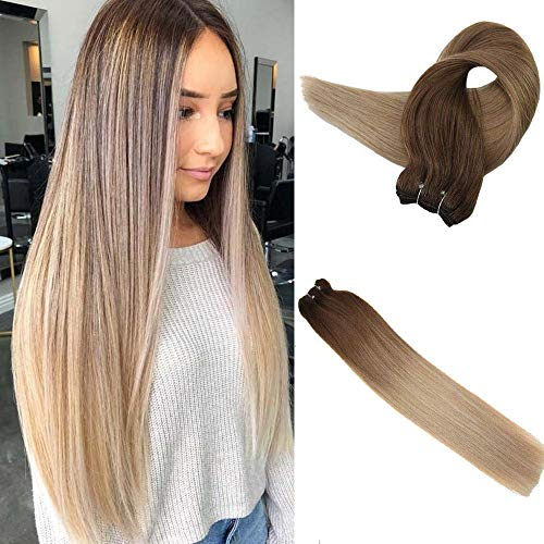 Easyouth Hair Weft Human Hair 22 Inch Color #10 Fading To #14 100 Gram Per Pack Colored Extensions Double Weft Brazilian Remy Hair Bundles Hair Weft Bundles ()
