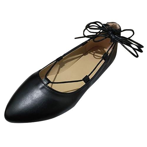 8b816c861c9de LSAltd Women Fashion Pointed Toe Lace-Up Leather Pumps Shallow Mouth Flat  Heel Shoes Square