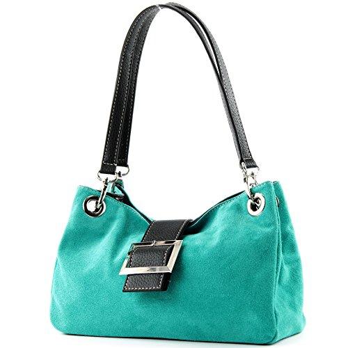 ital. bolsa de cuero de las señoras del totalizador del bolso de la taleguilla del ante Pequeño TL02 Türkis_1