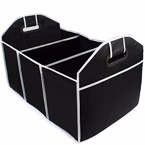 XENO-Extra Large Car Auto Trunk Organizer W/ 3 Compartments Folded Organization - Sunglasses Case Velvet Folding