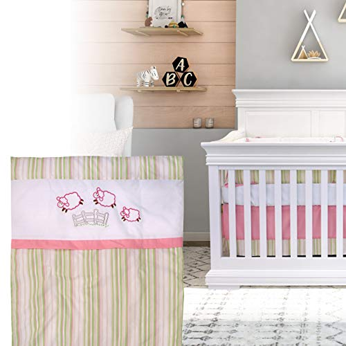 BOOBEYEH & DESIGN 5PCS Bedding for Baby - Sheep Pattern Pink and Green