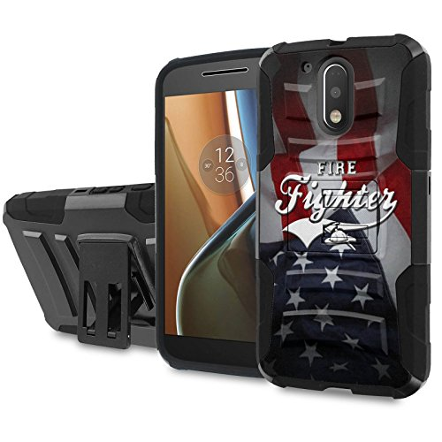 Moto [G4] [G4 Plus] Armor Case [SlickCandy] [Black/Black] Heavy Duty Defender [Holster] - [Fire Fighter Flag] for Motorala G [4th Gen] [G4 XT1625] [G4 Plus XT1644] -  SlickCandy for Moto [G4] [G4 Plus], P-MOTOG4-1E6-BKBK-CBT-P004C