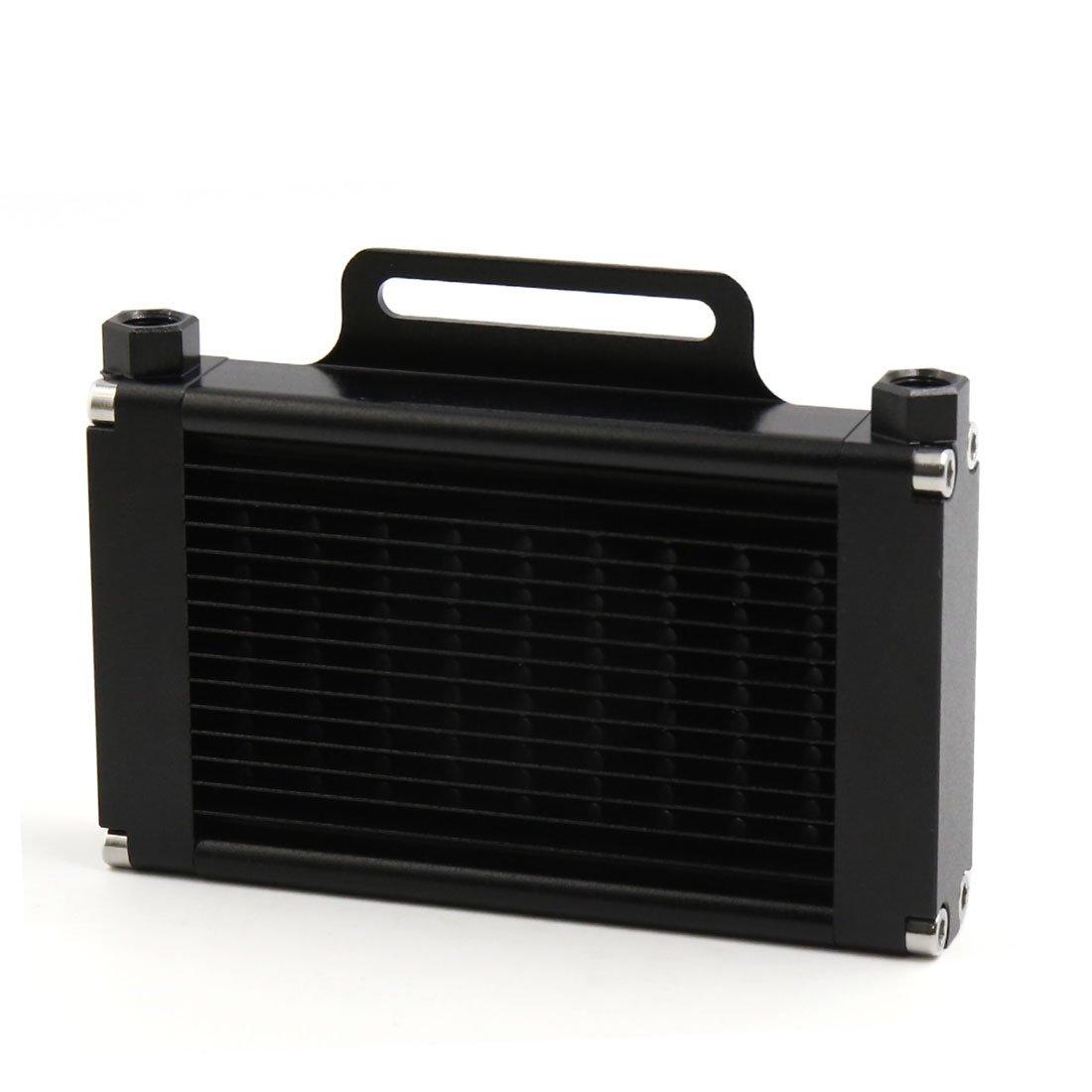 sourcingmap Alliage aluminium noir 9mm Filetage 14 lignes refroidisseur huile moteur Moto radiateur a17011200ux0155