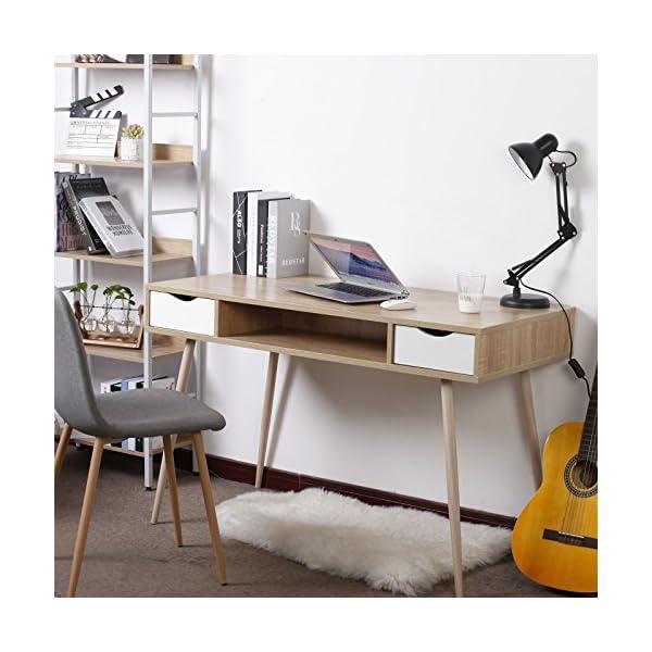 WOLTU TSG19hei Bureau d'ordinateur Table de Bureau en métal et Bois,Table de Travail PC Table avec 2 tiroirs et 1…