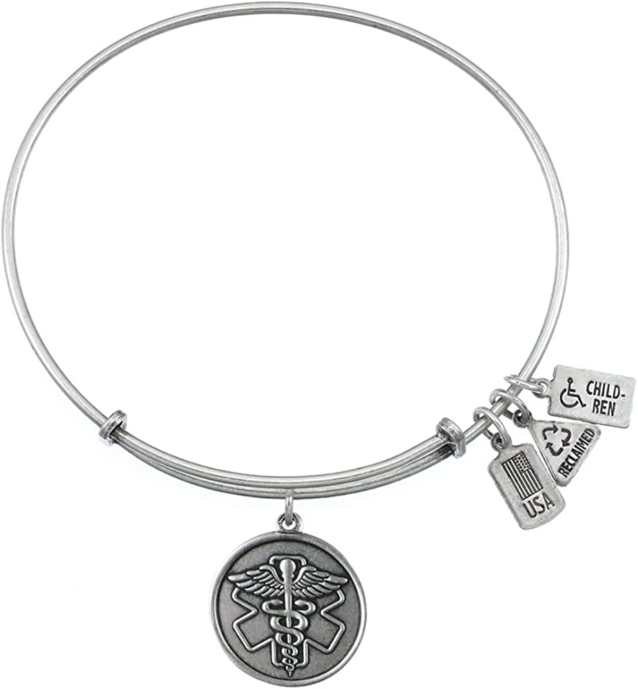 Wind and Fire Medical Id//symbol Caduceus Charm with Bangle WF216