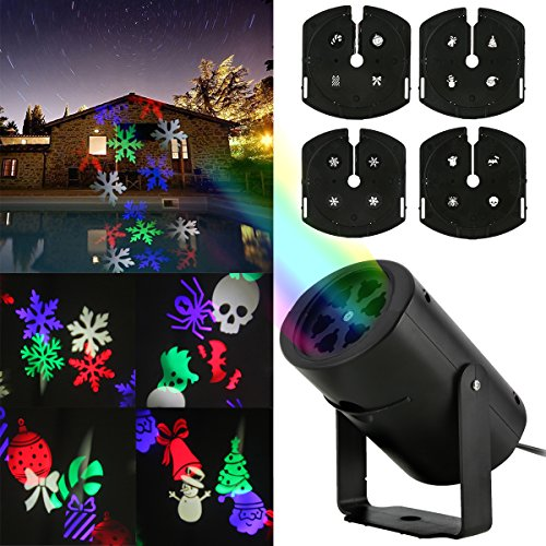 oenbopo Outdoor Garden LED Snowflakes Projector Light For Halloween Christmas Party Decor and Valentines Day Birthday Holiday, Landscape Led projector Lamp Spotlight different Pattern for Home (Day After Halloween Christmas)