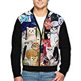 Best  - Roajgas Man Cool Cats Painting Polyester Stand Collar Review