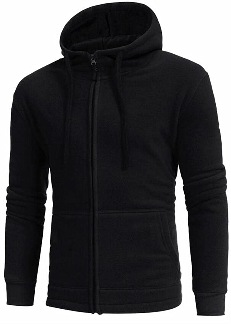 YY-qianqian Mens Velvet Drawstring Fashion Oversize Pockets Sweatshirt Hooded Jacket