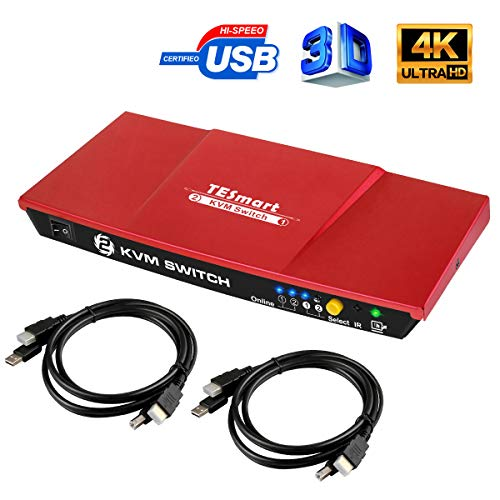 TESmart 4K KVM Switch HDMI 2X1 3840×2160@30Hz with 2 Pcs 5ft KVM Cables Supports USB 2.0 Device Control up to 2 Computers/Servers/DVR Present