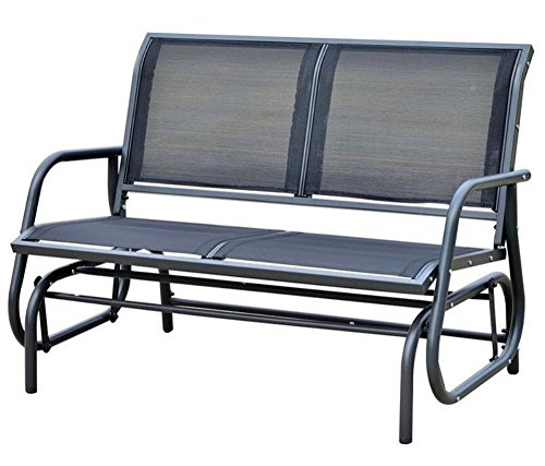 Brilliant Outdoor Glider Bench Patio Swing Chair Garden Porch Rocking Seat In Dark Grey Gmtry Best Dining Table And Chair Ideas Images Gmtryco