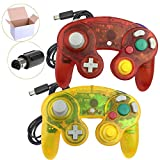 Koalud 2 Packs Classic Wired Gamepad Controllers for Wii Game Cube Gamecube console(Clear red and Clear yellow)