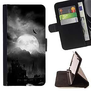 DRACULA CASTLE HALLOWEEN NIGHT MOON BAT/ Personalizada del estilo del dise???¡Ào de la PU Caso de encargo del cuero del tir????n del soporte d - Cao - For Samsung Galaxy S5 V SM-G900