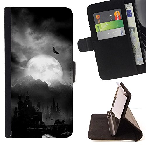 For Samsung Galaxy Note 5 5th N9200,S-type Moon Dracula Castle Halloween Bat - Drawing PU Leather Wallet Style Pouch Protective Skin Case