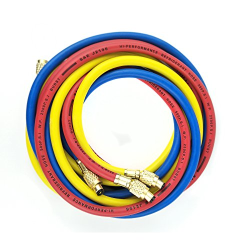 Wisepick 3 Colors AC Charging Hoses Tube for R134a Air Conditioning Refrigerant 1/4
