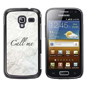 [Neutron-Star] Snap-on Series Teléfono Carcasa Funda Case Caso para Samsung Galaxy Ace 2 [Llámeme arrugado papel Caligrafía]