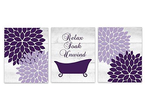 Wall Art Boutique Relax Soak Unwind - Purple and Grey Bathtub Art Prints - BATH131 (5 inches x 7 inches Paper Prints)
