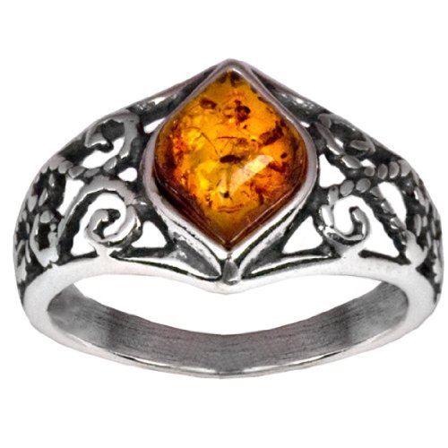 Sterling Silver Amber Marquise Shaped Ring (Handmade Lion Mask)