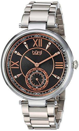 Burgi Women's Quartz Stainless Steel Casual Watch, Color:Silver-Toned (Model: BUR175SSB)