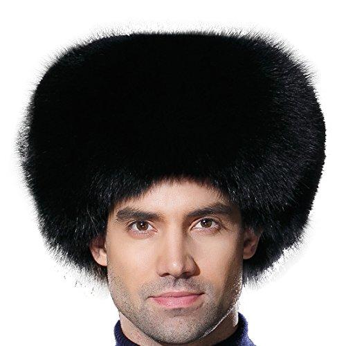 (URSFUR Winter Men Fur Hat Real Fox Fur Russian Ushanka Trapper Cap Black)