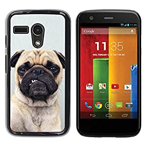 PC/Aluminum Funda Carcasa protectora para Motorola Moto G 1 1ST Gen I X1032 Pug Funny Dog Grey Button Ear Puppy / JUSTGO PHONE PROTECTOR