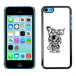 Eason Shop / Hard Slim Snap-On Case Cover Shell - Octopus Squid Skull - For iPhone 5C