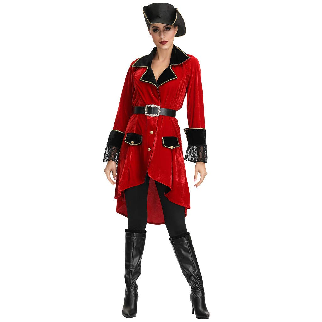 FEDULK Women's Sexy Dress Halloween Clothes Pirate Suit Holiday Party Prom Costume (Red, X-Large) by FEDULK