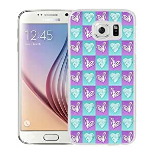 NEW Unique Custom Designed Samsung Galaxy S6 Phone Case With Heart Doodles In Squares_White Phone Case