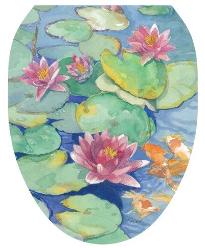 Lily Toilet (Toilet Tattoos TT-1029-O Lily Pad Design Toilet Seat Applique,)