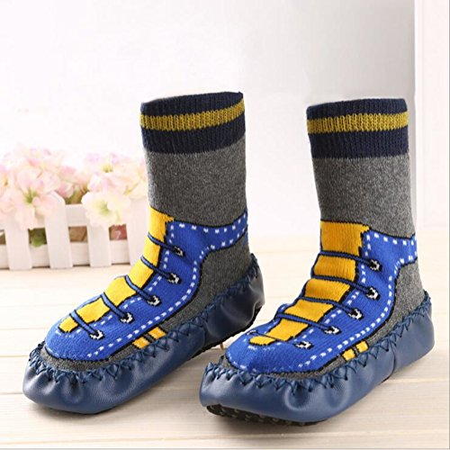 Infant Baby Cartoon Patterned Soft PU Leather Bottom Anti-slip Floor Socks Boots