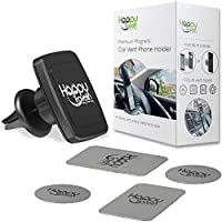 Magnetic Phone Holder for Car By Happy Travelin - Adjustable Universal Air Vent Cell Mount Works With Any Mobile Phone - 6 Strong Magnets Hold Large Phones with Case - Includes 4 Silver Metal Plates