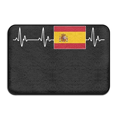Spain Heartbeat Skid Resistance Outings Floor Mat Kitchen Mat by Mat_Rug&