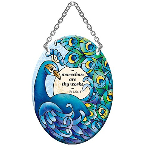 Small Oval Peacock Painted Glass Suncatcher Marvelous are thy works ()