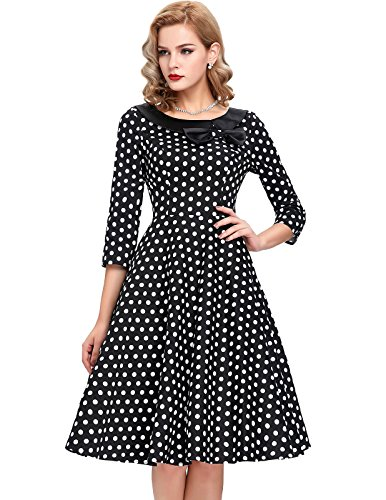 Belle-Poque-Womens-34-Sleeve-Polka-Dots-1950s-Retro-Vintage-Swing-Dresses