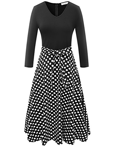 Melynnco Women's 3/4 Sleeve Vintage Polka Dot Patchwork A Line Cocktail Dress Polka Dot Black Medium from Melynnco