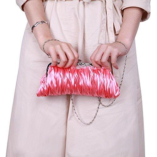 Handbags Bridal Wedding Women Ecotrump Clutch Soft Ladies Purse Party Satin Pink Shoulder HXwYXx