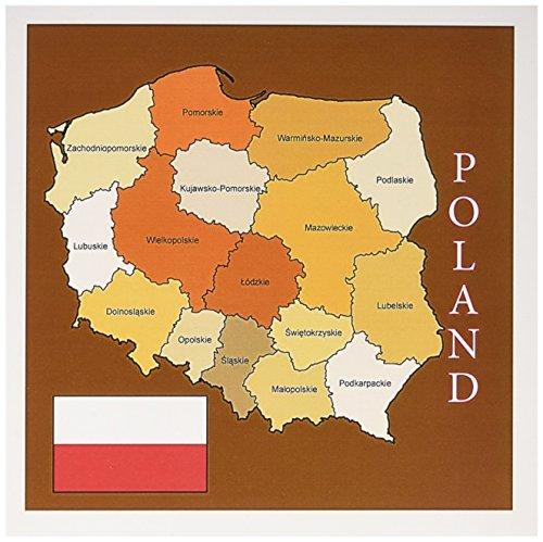 3dRose bandera y mapa Polonia en dorado colores cada político Division etiquetado, tarjetas de felicitación, Set de 6(gc...