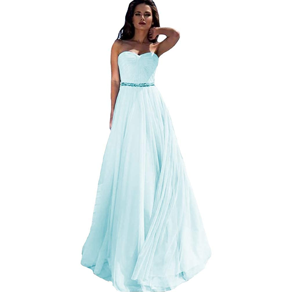 Ice bluee IVYPRECIOUS Women's Off Shoulder A Line Tulle Wedding Party Dresses Formal Prom Gown with Belt