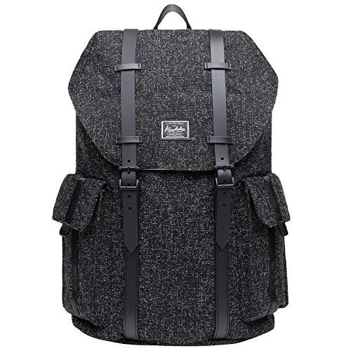 KAUKKO Multipurpose Canvas Backpack Daypack Hiking Travel Shoulder Bag Backpacks (48-BLACK)