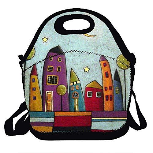 - Love fled Stripes and Houses Folk Art Insulated Lunch Bag for Women, Men and Kids - Reusable Soft Lunch Tote for Work and School